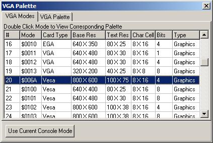 VGA Modes/Palettes